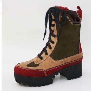Shoes - Multi Color Platform Combat Boot